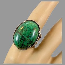 Turquoise Ring, Sterling Silver, Chrysocolla, Vintage Ring, Huge Stone, Israel, Size 7, Modern, Contemporary, Big Statement, Large