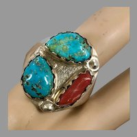 Turquoise Ring, Red Coral, Sterling Silver, Vintage Ring, Native American, Navajo, Heavy, Big, Huge, Size 12 1/2, Dead Pawn