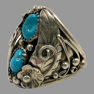 Turquoise Ring, Sterling Silver, Vintage, Native American, Navajo, Feather, Mens Ring, Size 11, Big Statement, Huge, Large