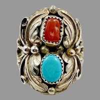 Turquoise Ring, Native American, Navajo, Red Coral, Sterling Silver, Feathers, Size 11, Mens, Mans