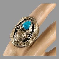 Buffalo Ring, Turquoise Ring, Sterling Silver, Vintage Ring, Native American, Navajo, Feathers, Dead Pawn