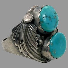 Turquoise Ring, Native American, Navajo, Feather, Sterling Silver, Vintage Ring, Mens Ring, Size 10 1/2,, Mans, Large, Wide