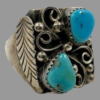 Turquoise Ring, Native American, Navajo, Feather, Sterling Silver, Vintage Ring, Mens Ring, Size 12, Signed, RS, Mans, Large, Wide