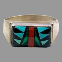 Turquoise Ring, Native American, Zuni, Sterling Silver, Vintage Ring, Signed, Inlay Turquoise, Size 12 1/2, Mens, Unisex