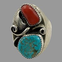 Turquoise Ring, Native American, Red Coral, Sterling Silver, Navajo, Mens Ring, Size 11 1/2, Big, Huge, Large, Wide