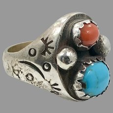 Turquoise Ring, Native American, Red Coral, Sterling Silver, Navajo, Mens Ring, Size 10 1/2, Big, Huge, Large, Wide