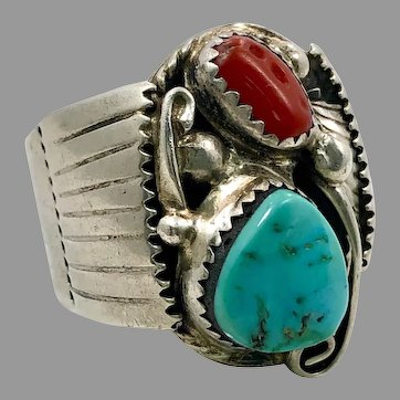 Turquoise Ring, Native American, Red Coral, Sterling Silver, Navajo, Wes Craig, Signed, Feather, Mens Ring, Size 10, Big, Huge, Large, Wide