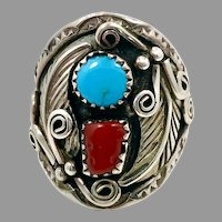 Turquoise Ring, Native American, Red Coral, Sterling Silver, Navajo, Mens Ring, Size 10, Big, Huge, Large, Wide