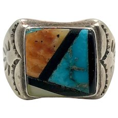 Turquoise Ring, Native American, Sterling Silver, Zuni, Signed RBL, Inlaid, Spiny Oyster, Onyx, Vintage Ring, Size 10 1/4, Mans Ring, Wide