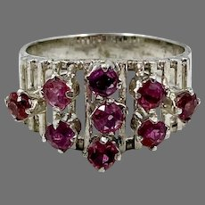 Pink Sapphire Ring, Sterling Silver, Vintage Ring, Size 7 1/2, Modern, Unique