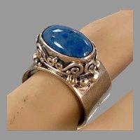 Lapis Ring, Lazuli Lazuli, Denim Lapis, Sterling Silver, Sajen, Designer Vintage Ring, Size 7, Adjustable, Blue Stone, Blue Ring