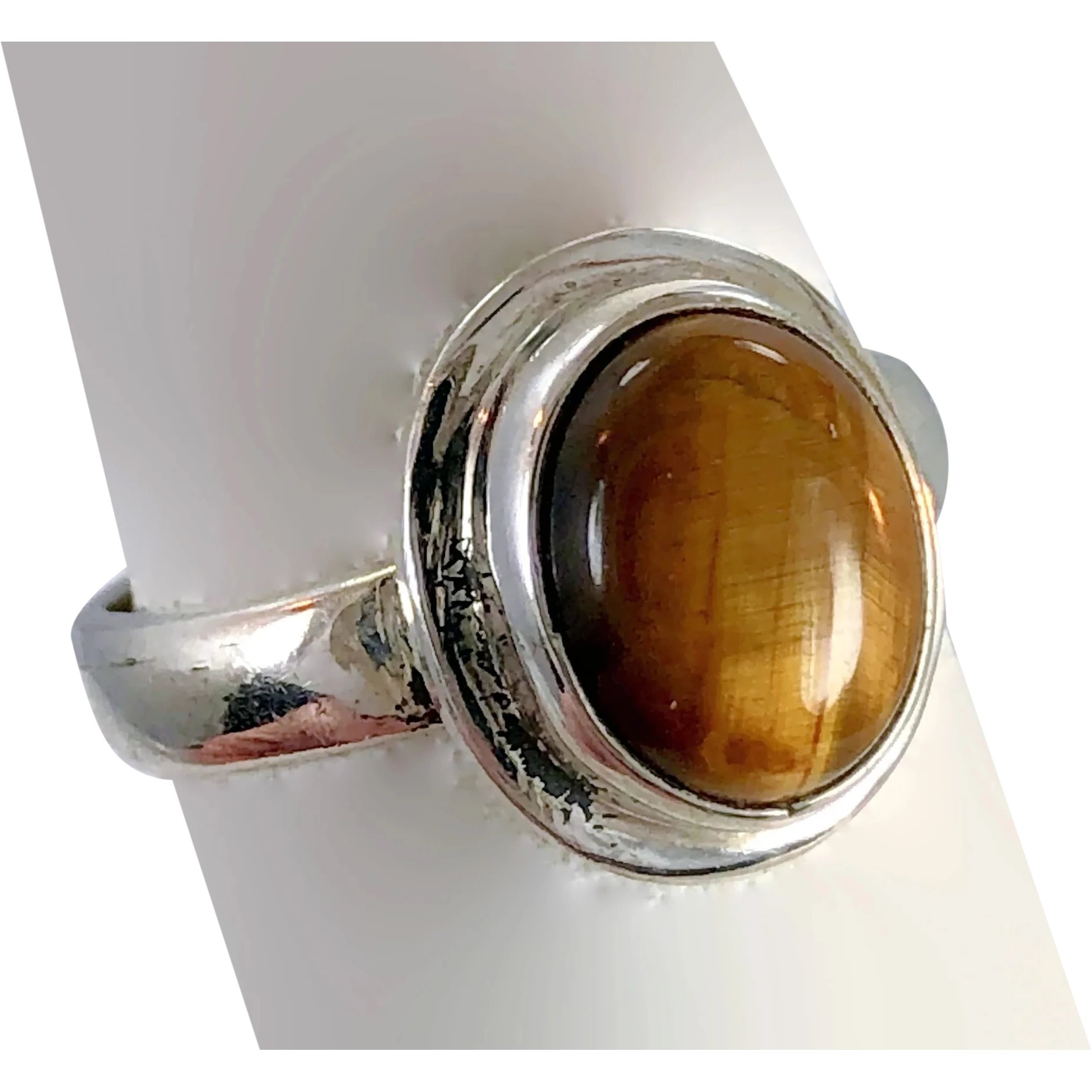 Natural Tiger Eye Women Jewelry 925 Sterling Silver Ring Size 8 EH68668