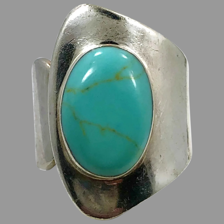 6 12 Vintage *signed MEXICO* 925 Sterling Silver Turquoise Ring Sz