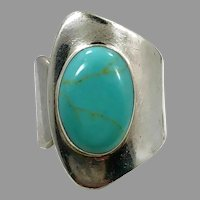 Turquoise Ring, Sterling Silver, Vintage Ring, Mexico, Size 6, Adjustable, Modern, Contemporary, Wide, Big