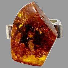 Amber Ring, Sterling Silver, Vintage Ring, Honey Amber, Size 8 1/4, Modern, Unique, NOS