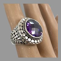 Amethyst Ring, Sterling Silver, Vintage Ring, Size 5 1/2, Large Stone, Bali Style, Purple Ring, Mens Pinky