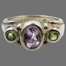 Amethyst Ring, Peridot Ring, Sterling Silver, Vintage Ring, Purple, Green, Stones, Gemstones
