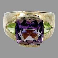 Amethyst Ring, Peridot Ring, Sterling Silver, Vintage Ring, Purple, Green, Stones, Gemstones, Ring Band, Contemporary, Modern