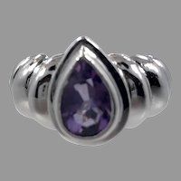 Amethyst Ring, Purple Ring, Sterling Silver, Vintage Ring, Size 5 1/2, Contemporary