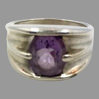 Amethyst Ring, Sterling Silver, Vintage Ring, Size 7, Wide, Modern, Purple Stone, Purple Ring, February Birthstone, Unisex