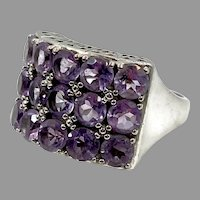 Amethyst Ring, Sterling Silver, Vintage Ring, Purple Ring, Size 6 1/2, Thailand, Wide, February Birthstone