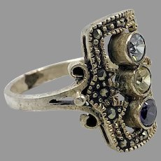 Marcasite Ring, Sterling Silver, Vintage Ring, Size 6 1/4, Art Deco Style, Black Ring, Black Stone, Glittering