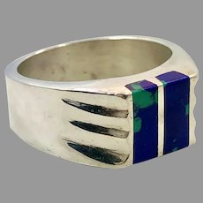 Azurite Malachite Ring, Sterling Silver, Mexico, Statement, Size 8 1/2, Inlaid, Inlay, Mens, Mans, Ring, Blue Stone