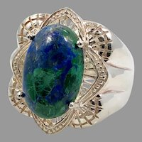Azurite Malachite Ring, Sterling Silver, Vintage Ring, Thailand, Blue, Green, Size 8 1/4, Big, Large