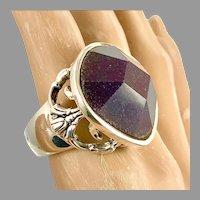 Amethyst Ring, Sterling Silver, Massive, Vintage Ring, Barse, Designer, Size 10, Large, Mens, Unisex