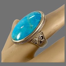 Turquoise Ring, Sterling Silver, Barse, Designer, Vintage Ring, Thailand, Big Stone, Size 6, Unisex, Mans Pinky Ring
