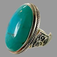 Turquoise Ring, Sterling Silver, Barse, Designer, Vintage Ring, Thailand, Big Stone, Size 6 1/4, Unisex, Mans Pinky Ring