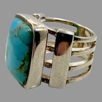 Turquoise Ring, Sterling Silver, Barse, Designer, Vintage Ring, Thailand, Big Stone, Size 7, Unisex, Mans Pinky Ring