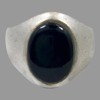 Black Onyx Ring, Sterling Silver, Vintage Ring, Size 9 1/4, Black Stone, Men's Ring