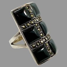Marcasite Ring, Black Onyx, Sterling Silver, Vintage Jewelry, Size 7 1/2, Black Ring, NOS
