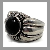 Black Onyx Ring, Sterling Silver, Vintage Ring, Size 6, Black Stone, Wide Ring, Women's, Men's Pinky Ring