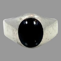 Black Onyx Ring, Sterling Silver, Taxco, Mexico, Vintage Ring, Size 12, Black Stone, Mens Ring