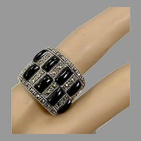 Marcasite Ring, Black Onyx, Sterling Silver, Black Stone, Vintage Ring, Size 7, Art Deco Style, Black Ring, Wide Band, Chunky