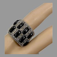 Marcasite Ring, Black Onyx, Sterling Silver, Black Stone, Vintage Ring, Size 8 1/2, Art Deco Style, Black Ring, Wide Band, Chunky