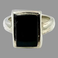 Black Onyx Ring, Sterling Silver, Vintage Ring, Size 6 1/2, Black Stone, Minimalist
