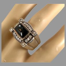 Onyx Ring, Marcasite Ring, Black Onyx, Sterling Silver, Vintage Jewelry, Size 8, Huge, Massive, Black Ring, Mens Pinky Ring