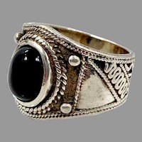 Black Onyx Ring, Sterling Silver, Vintage Ring, Vintage Jewelry, Bohemian, Size 6, Ethnic, Boho, Tribal, Black
