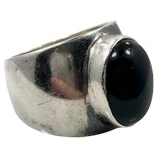 Black Onyx Ring, Sterling Silver, Vintage Ring, Size 7, Black Stone, Mexico, Wide Ring, Women's, Men's Pinky Ring