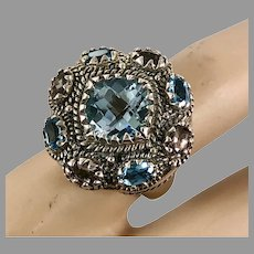 Blue Topaz Ring, Tourmaline, Clyde Duneier, Designer, Sterling Silver, Vintage Ring, Size 7 1/2, Large Ring