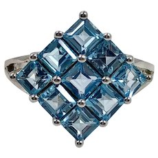 Blue Topaz Ring, Sterling Silver Ring, Size 8 1/2, Blue Ring