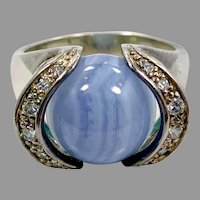 Blue Lace Agate Ring, Sterling Silver, Crystal, Vintage Ring, Stone Sphere, Size 9
