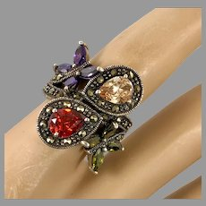 Marcasite Ring, Butterfly Ring, Sterling Silver, Vintage Ring, Size 7, Red, Purple, Green, Yellow, Wide