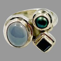 Chalcedony Ring, Iolite Ring, Turquoise, Pearl, Multi-stone, Vintage Ring, Sterling Silver, Size 7