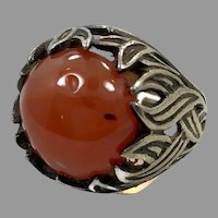 Carnelian Ring, Sterling Silver, Flame Ring, Vintage Ring, Size 4, Pinky Ring, Unique, Unusual