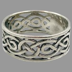 Celtic Knot Ring, Sterling Silver, Celtic Band, Vintage Ring, Irish Jewelry, Size 13, Irish Wedding Band, Wide, Thumb Ring