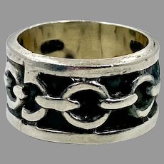 Chain Ring, Sterling Silver, Vintage Ring, Ring Band, Size 7 1/2, Mexico, Wide Ring